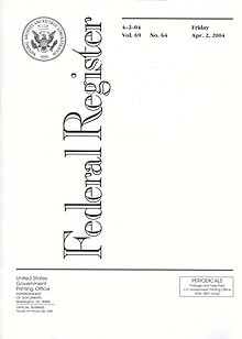 Titelblatt des Federal Register vom 2. April 2004