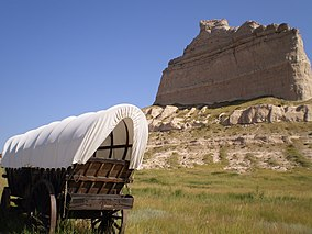 Covered Wagon In Scotts Bluff National Monument, Nebraska.jpg