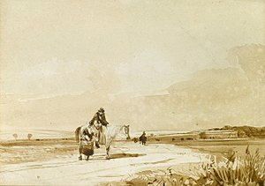 David Cox (artist) - David Cox Travellers on a Path, pencil and brown wash.