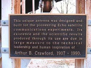 Holmdel Horn Antenna - On-site plaque commemorating the work of Arthur B. Crawford
