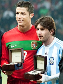 Cristiano Ronaldo and Lionel Messi - Portugal vs Argentina, 9th February 2011.jpg