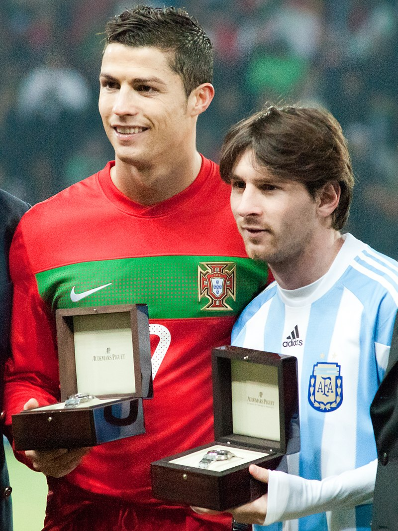 Cristiano Ronaldo and Lionel Messi - Portugal vs Argentina, 9th February 2011.jpg