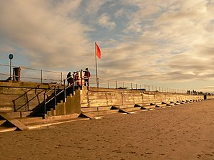 Crosby Beach - Part of the Sea Wall barrier