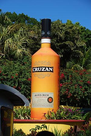 Cruzan Rum - Cruzan Rum bottle at Mountain Hill, St. Thomas, USVI
