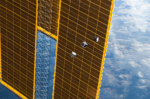 TechEdSat - CubeSats deployed to orbit from the International Space Station on 4 October 2012 (from left: TechEdSat, F-1 and FITSAT-1).