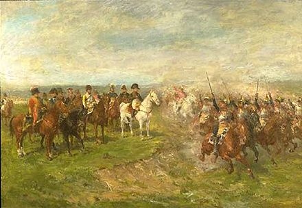 French cuirassiers cheering while charging past Napoleon at the Battle of Wagram. The Emperor committed Nansouty's heavy cavalry division, in a bid to stop the Austrian menace on his left. Cuirassiers-Wagram.jpg