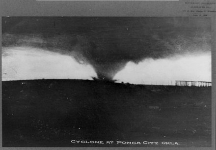 A historic photo of a wide tornado funnel taken near Ponca City between 1890 and 1920 Cyclone at Ponca City, Okla. LCCN91786006.jpg