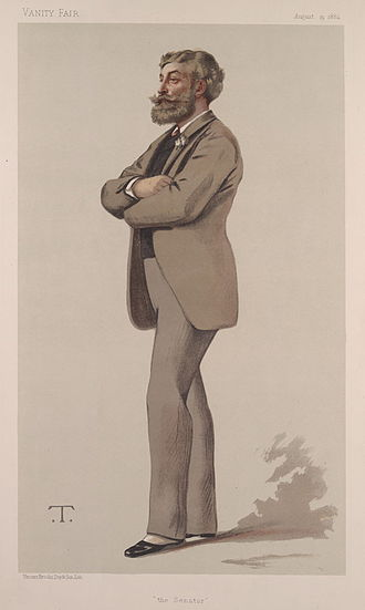 "Cyril Flower, 1st Baron Battersea - ""The Senator"". Caricature by T published in Vanity Fair in 1882."