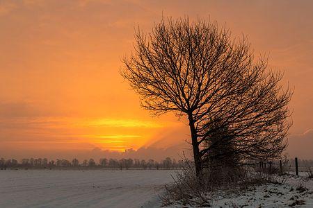 Sunrise near Hausdülmen, Dülmen, North Rhine-Westphalia, Germany