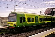 A DART train, forming part of the Dublin Suburban Rail network.