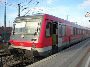 Dachau station - DB Class 628 on a S-Bahn Line A service to Altomünster, prior to electrification of the branch