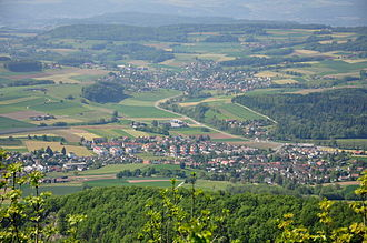 Surbtal - Surbtal (Surb valley) at Lengnau as seen from the Lägern chain