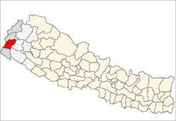 map of Dadeldhura, Nepal