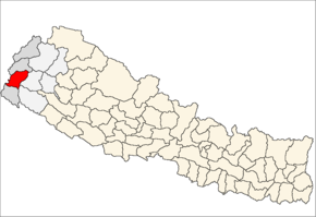 Dadeldhura District i Mahakali Zone (grå) i Far-Western Development Region (grå + lysegrå)