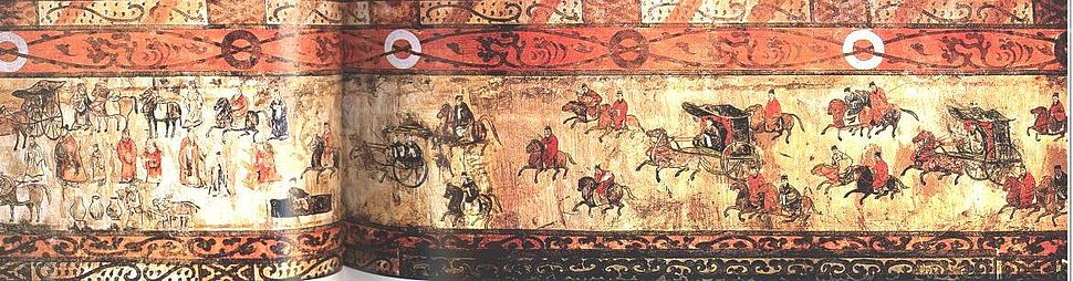Dahuting tomb mural of chariots and cavalry, Eastern Han Dynasty
