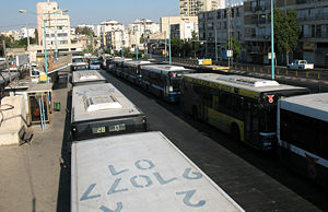 Transport in Petah Tikva - Southern section of the Petah Tikva Central Bus Station - Orlov Street (Egged platforms) are on the right, while Dan and Kavim platforms are in the center.
