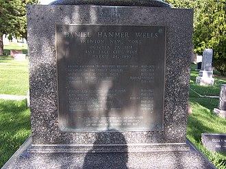 Daniel H. Wells - Image: Daniel H Wells Grave Plaque