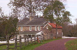 Daniel Boone Homestead - This house stands over the site of the log cabin that Daniel Boone was born in. The basement in the house is original to the log cabin.