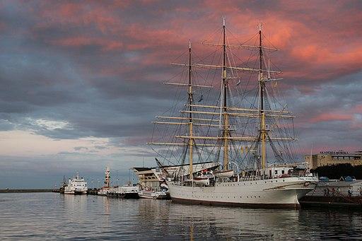 The tall ship Dar Pomorza in the Gdynia harbor.