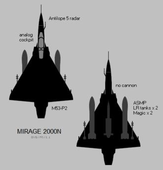 Dassault Mirage 2000N/2000D - Image: Dassault Mirage 2000N silhouette showing external stores configuration