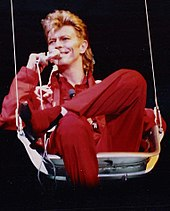 David Bowie performing.