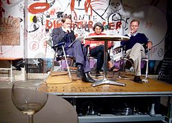 David Woodard, Ma Anand Sheela and Christian Kracht reading at Cabaret Voltaire at Zürich.jpg