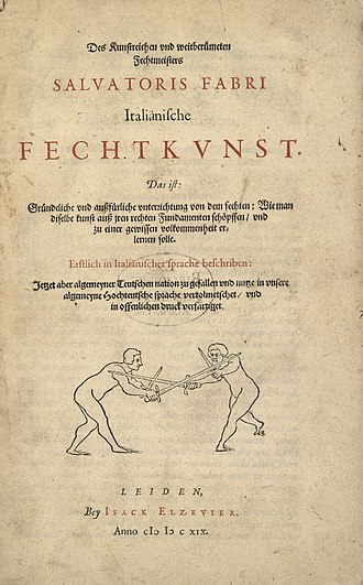 House of Elzevir - Book about fencing published in Leiden by Isack Elsevier in 1619