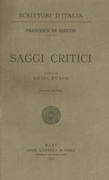 File:De Sanctis, Francesco – Saggi critici, Vol. II, 1952 – BEIC 1804122.djvu
