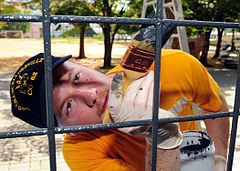 Defense.gov News Photo 110503-N-RG360-070 - U.S. Navy Petty Officer 2nd Class Jason Barcellos paints part of the Muang Phuket School in Chalong Thailand during a community service project.jpg