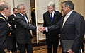 Defense.gov News Photo 120509-D-NI589-439 - Former Sen. Chuck Hagel shakes hands with Secretary of Defense Leon E. Panetta shortly before Panetta and Chairman of the Joint Chiefs of Staff Gen.jpg