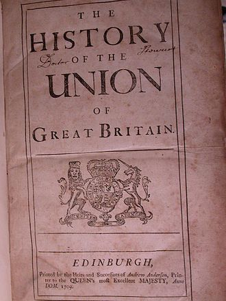 Daniel Defoe - Title page from Daniel Defoe's: The History of the Union of Great Britain dated 1709 and printed in Edinburgh by the Heirs of Anderson