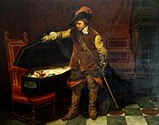 Cromwell lifting the Coffin-lid and looking at the Body of Charles, by Delaroche.