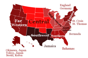 English: Map of Delta Sigma Theta Regions Cate...