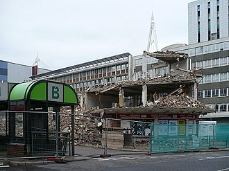 Cardiff Central bus station - Demolition of the terminal building in 2008