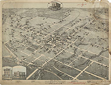 Map of Denton's city infrastructure in 1883. The town square area is heavily developed while the outskirts of the town are just beginning to be incorporated