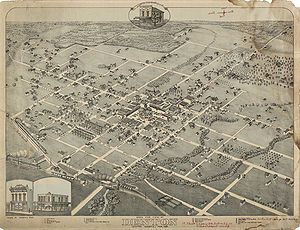 Denton, Texas - Map of Denton in 1883
