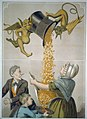Devils pouring gold coins from hat into woman's apron and boy's hat LCCN2002719197.jpg