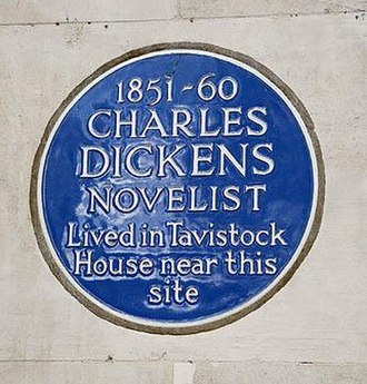 Tavistock House - Blue plaque on the BMA building commemorating Dickens and Tavistock House