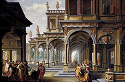 Dirk van Delen: Architectural Capriccio with Jephthah and His Daughter