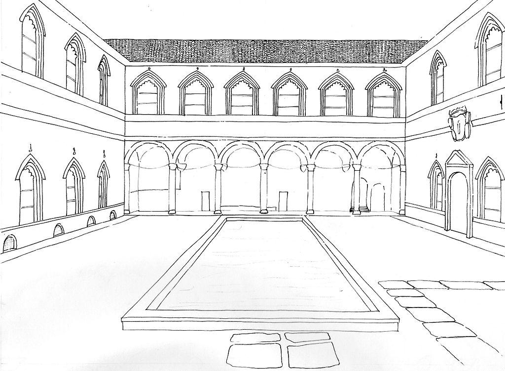 File disegno corte interna castello sforzesco di milano for Piani tipo casa castello
