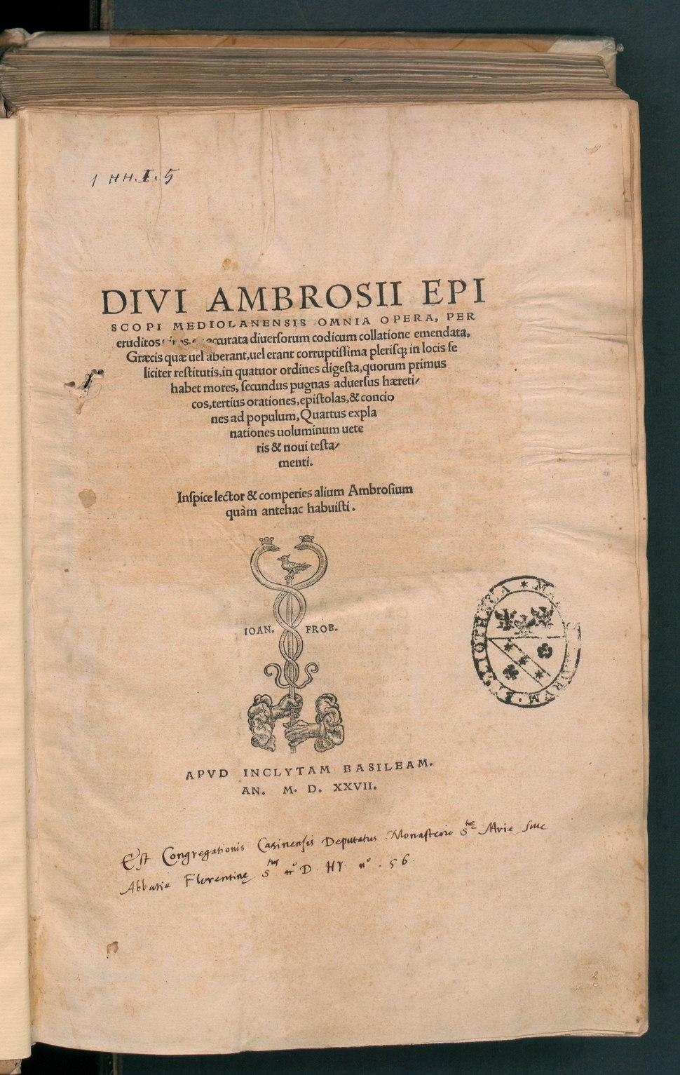 Divi Ambrosii Episcopi Mediolanensis Omnia Opera