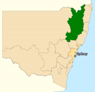Division of New England - Division of New England in New South Wales, as of the 2016 federal election.