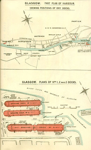 Pacific Quay - Admiralty plan of the Govan Graving Docks from 1909.