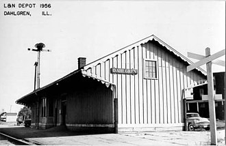 Dahlgren, Illinois - The depot in 1956 looking SE from 3rd St.