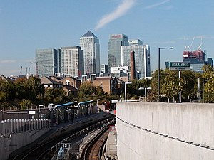 Mudchute - Mudchute DLR station with Canary Wharf in the background