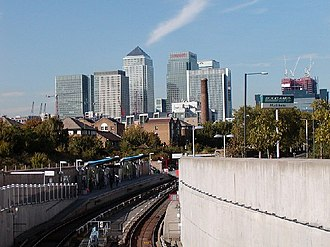 Mudchute Park and Farm - Mudchute DLR station with Canary Wharf in the background