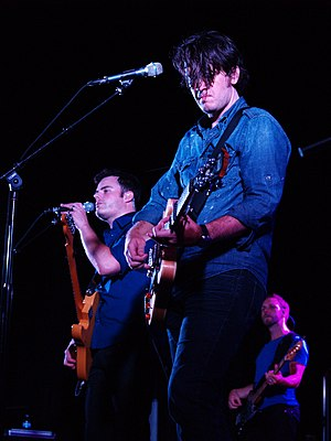 Downhere - Left to right: Marc Martel, Jason Germain, and Glenn Lavender performing in 2011