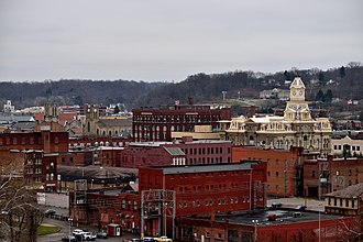 Zanesville, Ohio - The view of downtown Zanesville from Putnam Hill Park