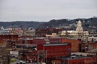 Zanesville, Ohio - The view of downtown Zanesville from Putnam Hill Park