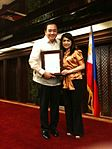 Dr- Tony Leachon received Presidential Citation for his preventive health education advocacy in 2008 from then Philippine President Gloria Macapagal - Arroyo; Dr- Leachon was the primary author of Executive O 2014-05-09 13-07.jpg